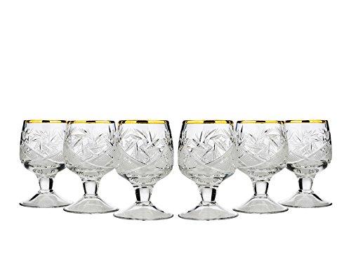 Neman WG5290G-X, 4,57 ml Vodka - Juego de 6 vasos cordiales de cerezo cortados con cristales cortos, hechos a mano, cristales de cordial, vasos de chupito Vodka, regalo de boda