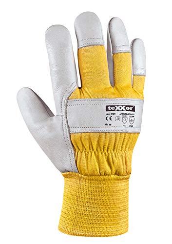 (12 Paar) teXXor Handschuhe Winterhandschuhe Himalaya II 12 x Leder Natur/Drell gelb XXL/11