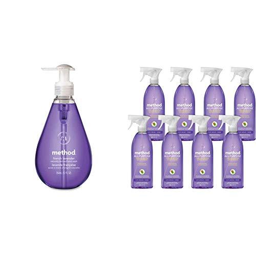 Method Gel Hand Soap, French Lavender, 12 Fl Oz (Pack of 6) & All Purpose Cleaner, French Lavender,28 Fl Oz (Pack of 8)
