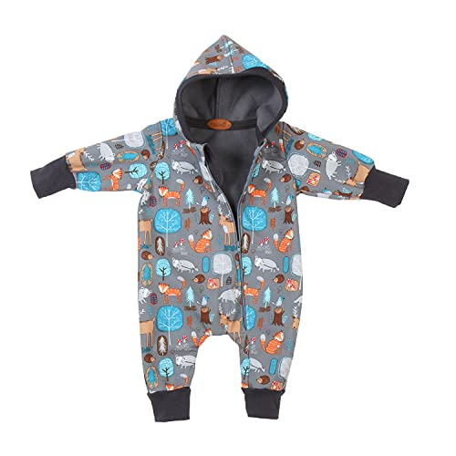 """Lilakind"""" Baby Kinder Softshell Overall mit Kapuze Waldtiere Grau Gr. 92/98 - Made in Germany"""