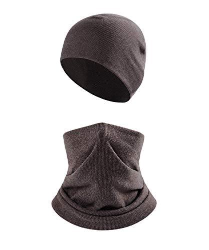2Pcs Winter Beanie Hat Scarf Set for Men Women,Thermal Fleece Warm Skull Cap,Snow Gear Skiing Balaclava(Grey)
