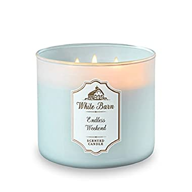 Bath and Body Works White Barn 3 Wick Scented Candle Endless Weekend 14.5 Ounce with Essential Oils