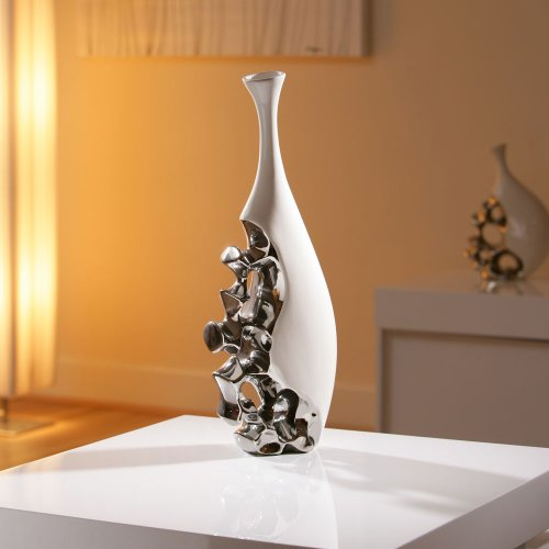 Stunning Modern Vase/Ornament White/Chrome Large Birthday Present 25