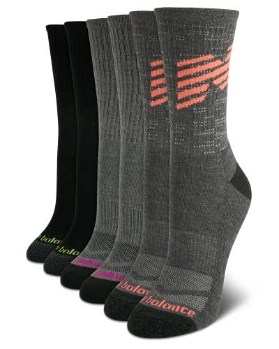 New Balance Women's Mositure Wicking Cushioned Fashion Crew Socks (6 Pack), Black/Grey, Size Shoe Size: 4-10