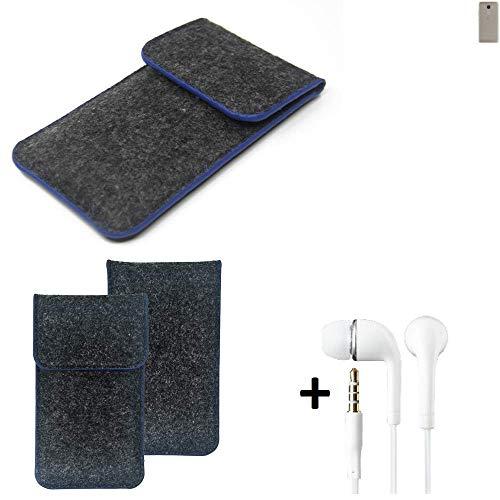 K-S-Trade Filz Schutz Hülle Für BQ Aquaris VS Schutzhülle Filztasche Pouch Tasche Handyhülle Filzhülle Dunkelgrau, Blauer Rand Rand + Kopfhörer