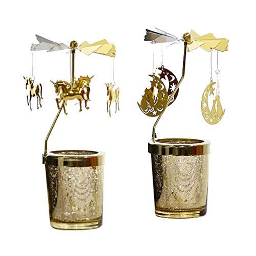 Baoblaze Candelabro De De Unicornio De Hadas con Portavelas De Metal 2 Uds para Banquete De...