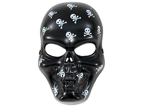 Alsino Schwarze Totenkopfmaske Skelett Plastik mit Band Horror-Maske Mexiko Totenkopf Maske Paintball Gesichtsmaske Skull