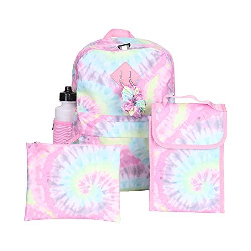 Juego de mochila Tie Dye para niñas, 16 pulgadas, 6 piezas, incluye bolsa de almuerzo plegable, botella de agua, coletero y estuche para lápices
