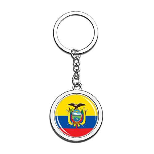 Hqiyaols Souvenir Bandera Nacional de Ecuador Llavero 3D Cristal Creativo Spinning Ronda Llavero de Acero Inoxidable Viaje Ciudad Llavero de Recuerdo Llavero
