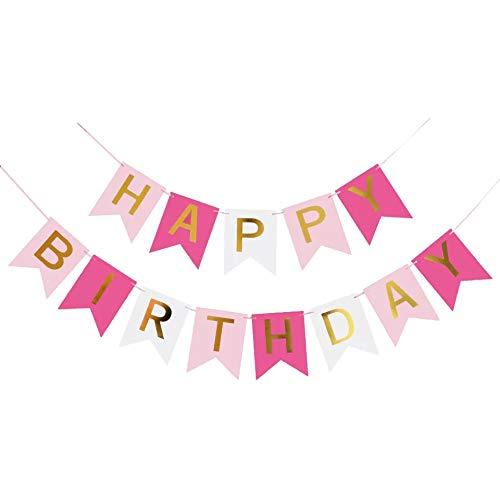 Juego de decoración de cumpleaños con pancartas de Happy Birthday, guirnalda multicolor para fiestas de cumpleaños (Style 4, 16 x 20 cm)