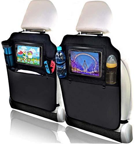 Protezione Sedile Auto Bambini, Heyham 2 Pezzi Impermeabile Sedile Posteriore Auto Organizzatori, Posteriore Auto Proteggi Supporto per Multi-Tasca e Pocket iPad/Tablet Trasparente