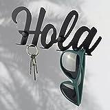 Cuelga llaves. Colgador de llaves de pared. Portallaves. Guardallaves entrada. 5 idiomas Lettering. (HOLA - negro)