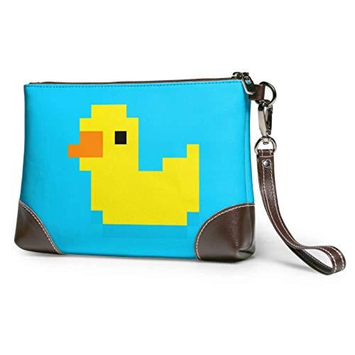 JINCAII Weiche wasserdichte Leder Wristlet Tasche Baustein Icon Stitching Girls Clutch Bag mit Reißverschluss für Frauen Mädchen
