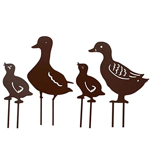 Metal Duck Garden Ornaments for Outside Decorations, Metal Animal Yard Decor, Ornamental Gardening Stakes for Decoration, Outdoor Decorative Stake Accessories and Lawn Ornaments