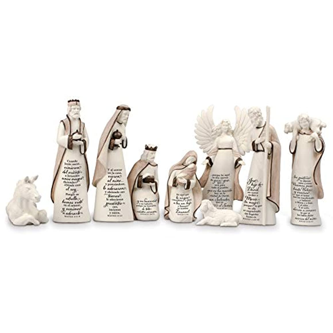 Lighthouse Christian Products Child is Born Resin Spanish Scriptured Christmas Nativity Set, Multi