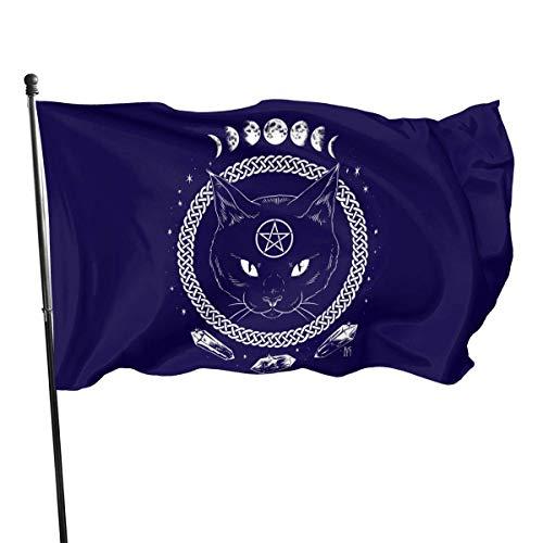 Kenice 3X5 Ft,Willkommensflagge,Verandafahne,Garten Flagge,Garten Fahne Vertikal, Katzen-Pentagramm-Flagge