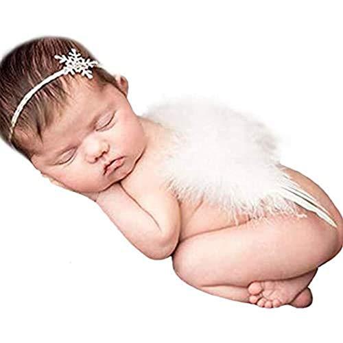 Fashband Accesorios para fotografía de bebé recién nacido Alas de bebé Alas de ángel de plumas con cristal de nieve Diadema de diamantes de imitación para bebé Niña Niño Niño