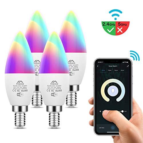 MoKo Smart WLAN LED Lampe, E14 5W Kerzenform Dimmbar Glühbirne Mehrfarbig, WiFi Birne APP Sprachsteuerung Kompatibel mit Alexa Echo Google Home SmartThings, RGB+Kühles Weiß+Warmweiß, Kein Hub, 4 Pack