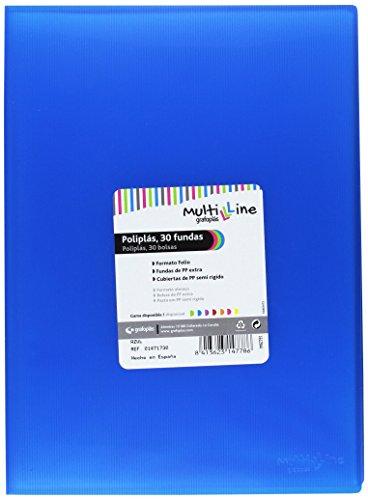 Grafoplás 01471730-Carpeta de fundas Multiline, 30 fundas, tamaño folio, color azul