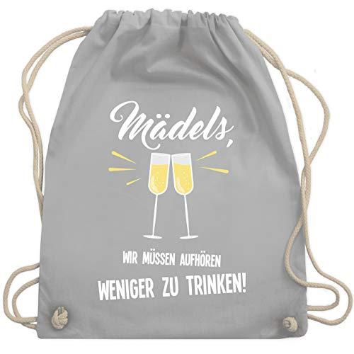 Shirtracer Statement - Mädels, wir müssen aufhören weniger zu trinken - Unisize - Hellgrau - jga turnbeutel party - WM110 - Turnbeutel und Stoffbeutel aus Baumwolle