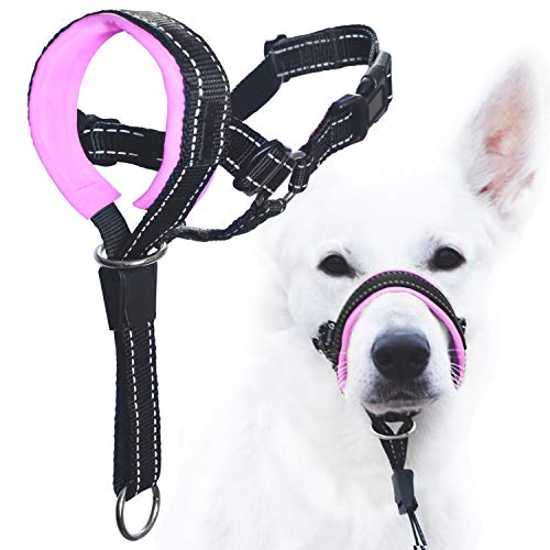 GoodBoy Dog Head Halter with Safety Strap - Stops Heavy Pulling On The Leash - Padded Headcollar for Small Medium and Large Dog Sizes - Head Collar Training Guide Included (Size 3, Pink)