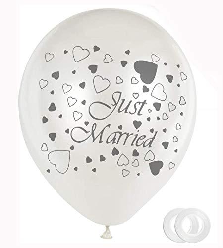 Hochzeit Luftballons, 30 Stück Just Married Ballons, Hochzeits Party Deko, für Heiratsantrag Standesamt Verlobung Hochzeitsgeschen