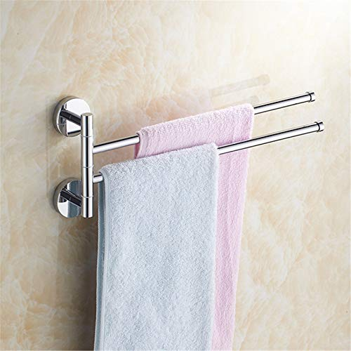 Toallero giratorio de acero inoxidable montado en la pared, para ahorrar espacio 2/3/4 barras de baño, toallero de 2 barras