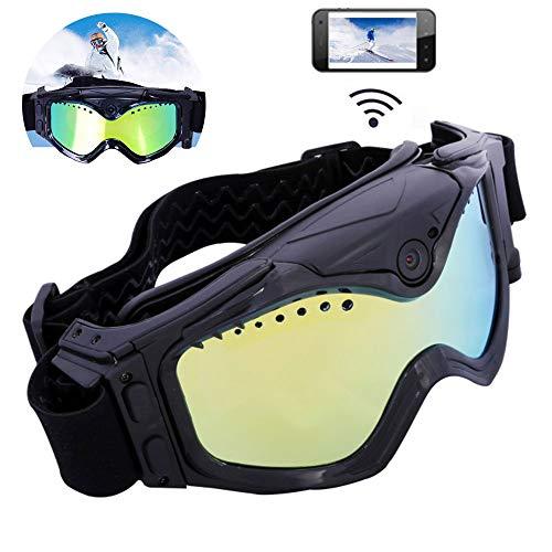 HDHD Kamera-Skibrille, 720P HD-Skibrillebrille WiFi-Kamera & Buntes Doppeltes Antibeschlagobjektiv Für Ski Mit APP-Livebild-Videoüberwachung