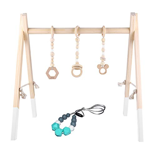 Wooden Baby Activity Gym,BPA Free Newborn Play Gym with 3 Mobile Toy and Silicone Teething Necklace for Newborn Gift…