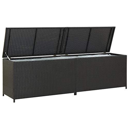 Festnight Gartenbox Auflagenbox Kissenbox Kiste Gartentruhe Truhe Box Poly Rattan 200×50×60 cm Schwarz