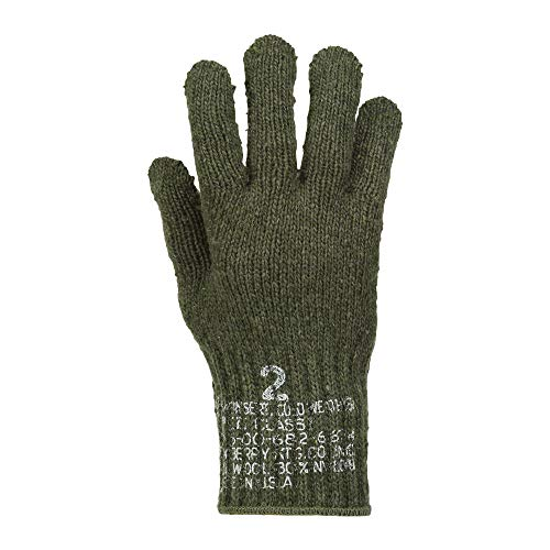 US Army Military Genuine Issue GI Men's Wool Nylon Blend Cold Weather Snow Winter Tactical Gloves (Large, OD Green)