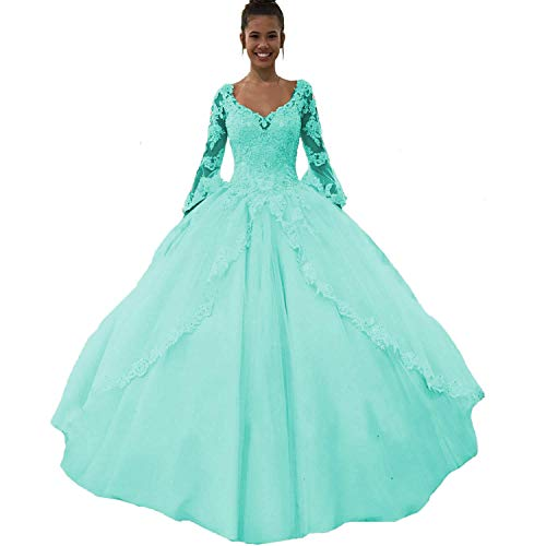 Fair Lady Lace Pink Sweet 16 Quinceanera Dresses Long Sleeve Ball Gown Prom Evening Dress