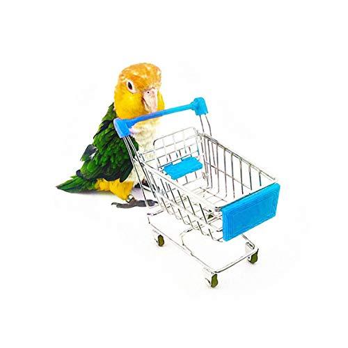 TEHAUX Mini-Einkaufswagen für Papageien, Miniatur-Metall-Supermarkt, Intelligenz-Training, Spielzeug,...