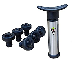 Wine Preserver Vacuum Air Pump With 6 Wine Bottle Stoppers & 6 Pouring Discs By DeVine ? Durable Stainless Steel & Plastic Construction ? Airtight, Leak-Proof Seal ? Easy To Use - Nice Gift Packaging