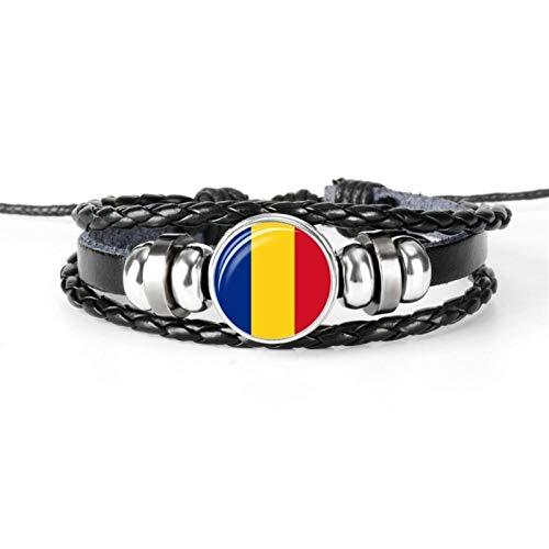 AMINIY Nueva Bandera Nacional Hecho Hombres Y Mujeres Pulsera Pulsera Cabochon Pulsera Joyería Regalo (Color : Romania)