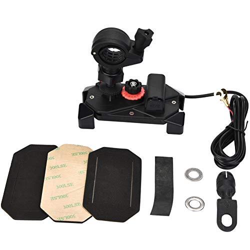 EBTOOLS telefoonhouder voor motorfietsen, 5 V, 2 A, motorfiets, telescoop, met standfunctie, telefoonhouder met oplader