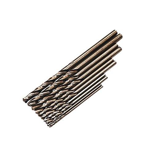 """SPKLINE 10 Pcs High Speed Steel Cobalt Drill Bit Set 2 Pcs of Each 1mm(3/64""""), 1.5mm(1/16"""") 2mm(5/64"""") 2.5mm(3/32"""") 3mm…"""