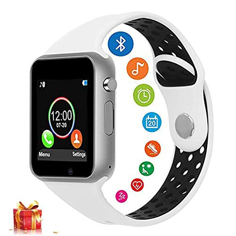 Smart Watches for Android Phones, DOROIM Bluetooth Fitness Tracker Sport SmartWatch Touch Screen Smart Watch with SIM/TF Card Slot for Men Women Students(White)