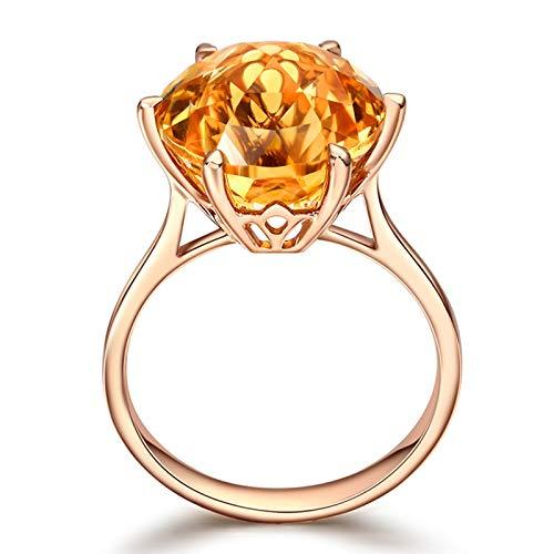 Daesar Anillos de Compromiso Mujer Oro 18K Redondo Citrino Amarillo 6.75ct Talla 9,5-25