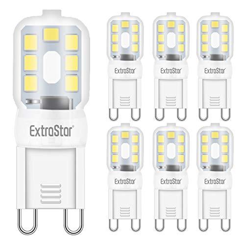 Lampadina LED G9, 2.5W Equivalente a 20W Lampada Alogena, luce bianco freddo 6500K Non-Dimmerabile 360 Grado, 6 Pezzi