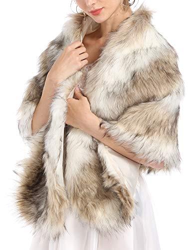 Caracilia Women's Fashion Luxury Faux Fur Cape Coat for Winter Wedding sansemao S CAFB5
