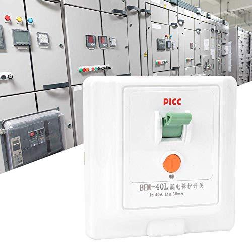ZUQIEE Leckschutzschalter 40A 230V, Berm® BEM-40L 86 Elektromagnetische Erdschlussschalter, ABS-Material-Panel, resistent gegen Fallen und Kratzen, feuerhemmend