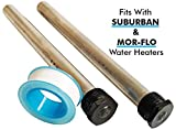 RV Water Heater Magnesium Anode Rod Set - 2-Piece Kit Water Heater Anode Rods with PTFE Tape - Compatible with Suburban and Mor-Flo Water Heater Tanks - 9.25' Length ¾' NPT Threads