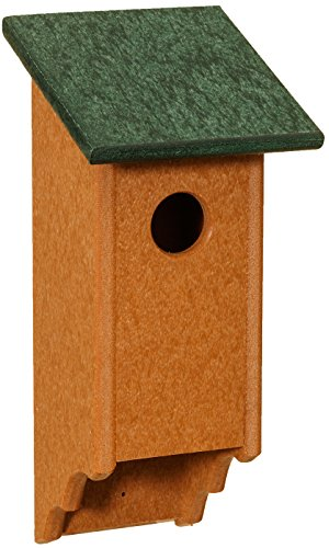 Dress the Yard Recycled Plastic Amish Bluebird House, Handcrafted in The USA from Easy to Clean, Eco-Friendly Materials (Turf Green & Cedar)
