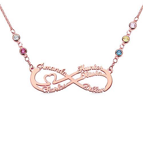 Collar con nombre Collar familiar personalizado Nombre grabado y piedra de nacimiento Colgante infinito Aniversario para mamá(Oro rosa 18)