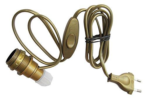Tibelec 859130 Lampenfassung für Flaschen, E14, mit Schalter und Stecker, goldfarben