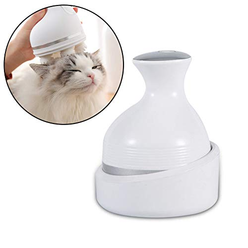 PSATO Automatic Pet Massager Electric Massage Instrument for Cat Dog 3D Kneading Tool 360° Rotate Dragon Claw Cleaner Dust Wireless USB Charging,White