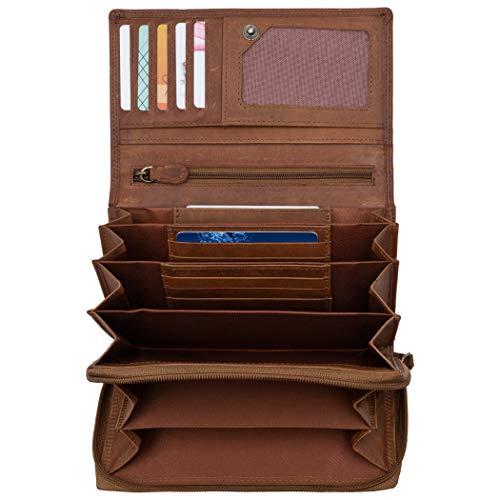 Chunkyrayan Damen Geldbörse Echtleder Viel Platz GB-002 Brown 2
