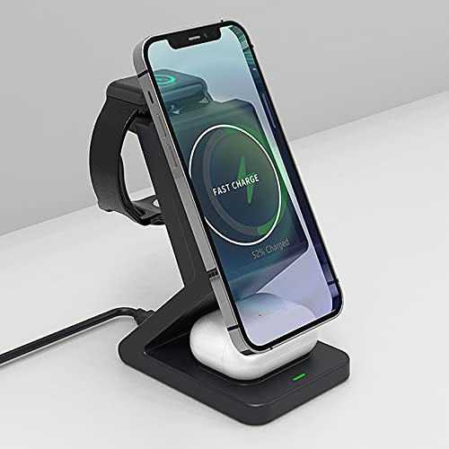 Soporte De Cargador Inalámbrico 3 En 1, Estación De Carga Inalámbrica para Apple Watch, Compatible con iPhone 12 12 Pro MAX 11 X XS MAX, Compatible con Huawei, Certificado Qi
