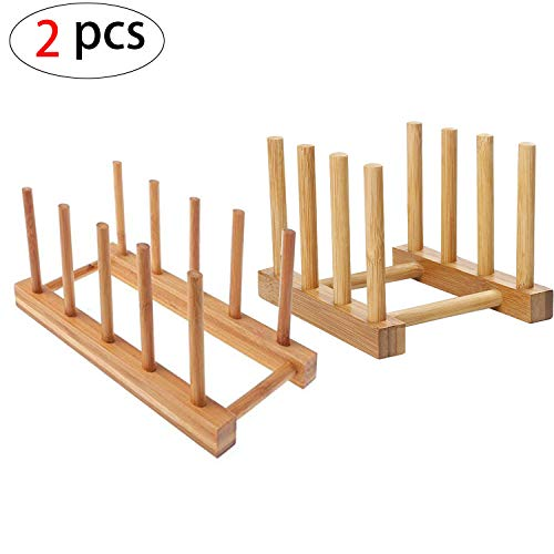 Mein HERZ 2 Pzs Rack de Almacenamiento de Bambú, Bandeja de Goteo Estante de Goteo Cocina Cesta de Vajilla Soporte de Plato de Madera de Bambú para Platos, Tazas, CD, Copa de Vino,Reservar